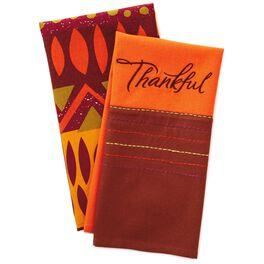 Thankful Autumn Tea Towels, Set of 2, , large