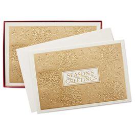 Gold Season's Greetings Christmas Cards, Box of 40, , large