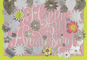 Flowers and Silver Hearts 25th Anniversary Card