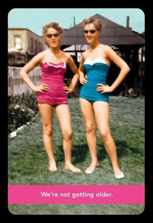 Retro Swimsuit Models Funny Birthday Card