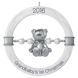 Grandbaby's First Christmas Teddy Bear Rattle Ornament, , large
