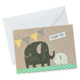 Elephant and Baby Thank You Notes, Pack of 10, , large