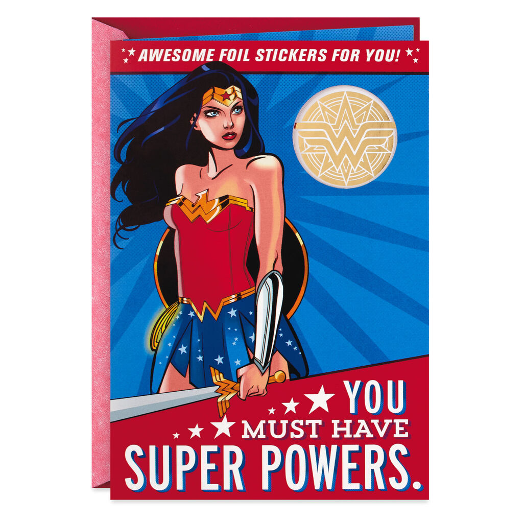 DC ComicsTM Wonder WomanTM Super Powers Birthday Card With Stickers