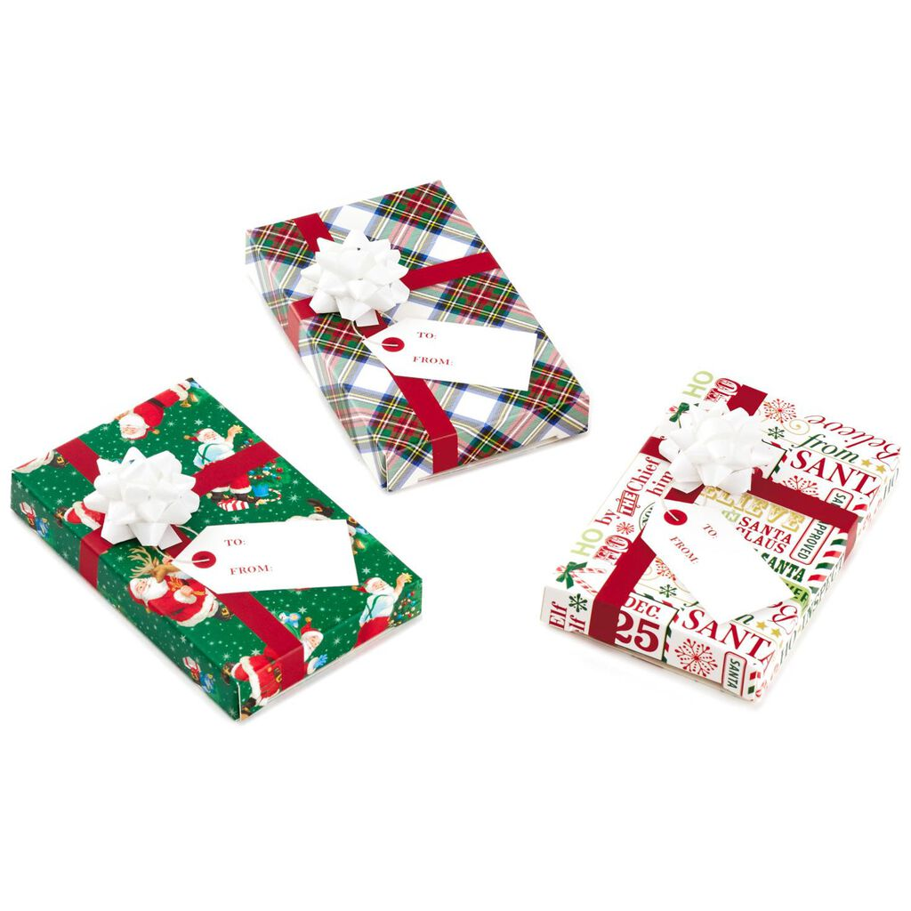 Santa and Plaid Christmas Gift Card Holder Boxes, Pack of 3 - Gift ...