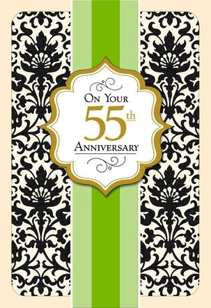 Black Flocking and Green Ribbon 55th Anniversary Card