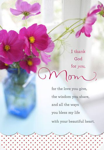 Beautiful Heart Mom Religious Birthday Card