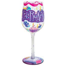 Lolita® February Birthday Cupcake Hand-Painted Wine Glass, 15 oz., , large