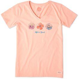 Life is Good® Women's 3 Flowers V-Neck T-Shirt, , large