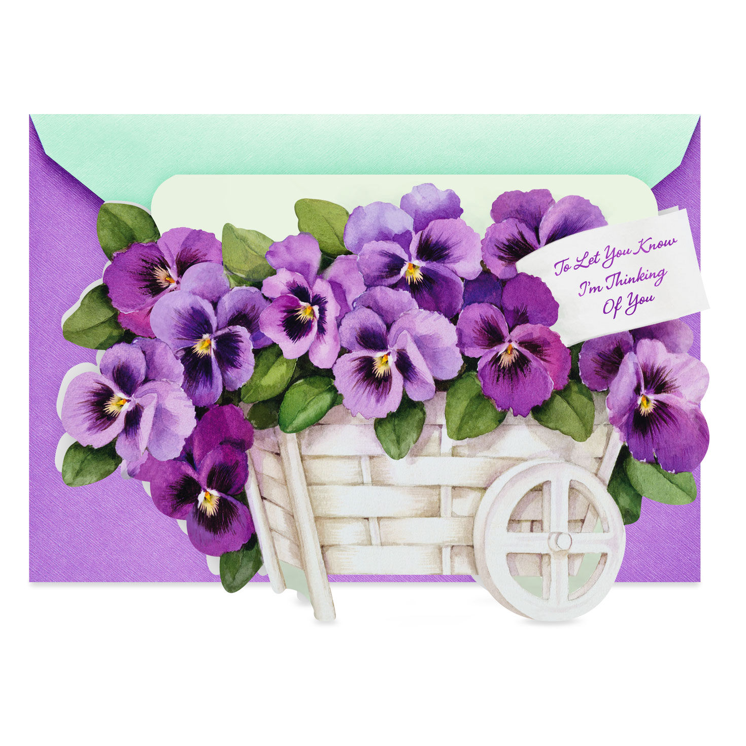 Purple Pansies Sad Loss of Wife Sympathy Condolence Card
