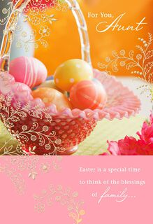 Basket of Eggs Blessings Easter Card for Aunt,