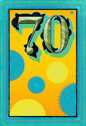 Yellow and Blue Sunbursts 70th Birthday Card