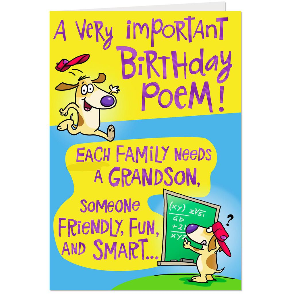 Poem For A Fun Grandson Birthday Card