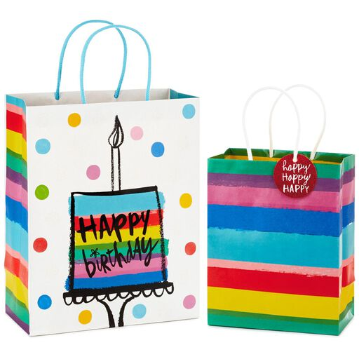 Rainbow Stripes Medium And Happy Birthday Cake Large Gift Bags Pack Of 2