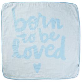 Born to Be Loved Blue Muslin Baby Blanket, , large