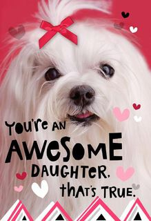Dog with Bow Daughter Valentine's Day Card,