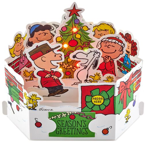Peanuts Christmas Musical.Itty Bittys Peanuts Snoopy Christmas Card With Stuffed