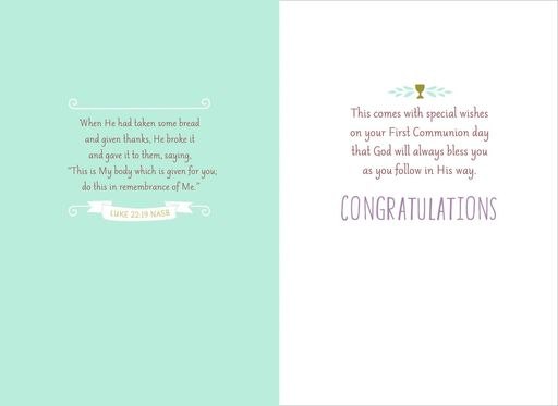 Follow in His Way Religious First Communion Card,