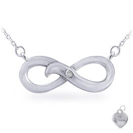 Diamond Accent Infinity Necklace  in Sterling Silver, , large
