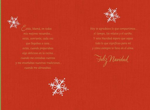Snowy Window of Memories Spanish Christmas Card for Mother,
