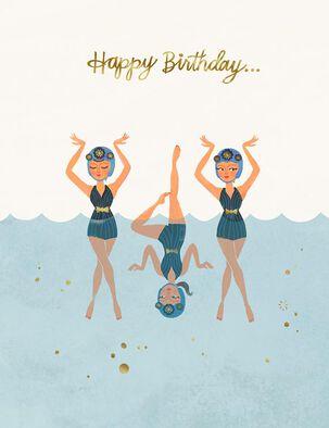 Fearless Fun Swimmers Birthday Card