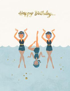 Fearless Fun Swimmers Birthday Card,
