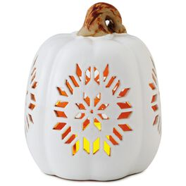 "Large Pierced Ceramic Pumpkin Luminary, 7.5"", , large"