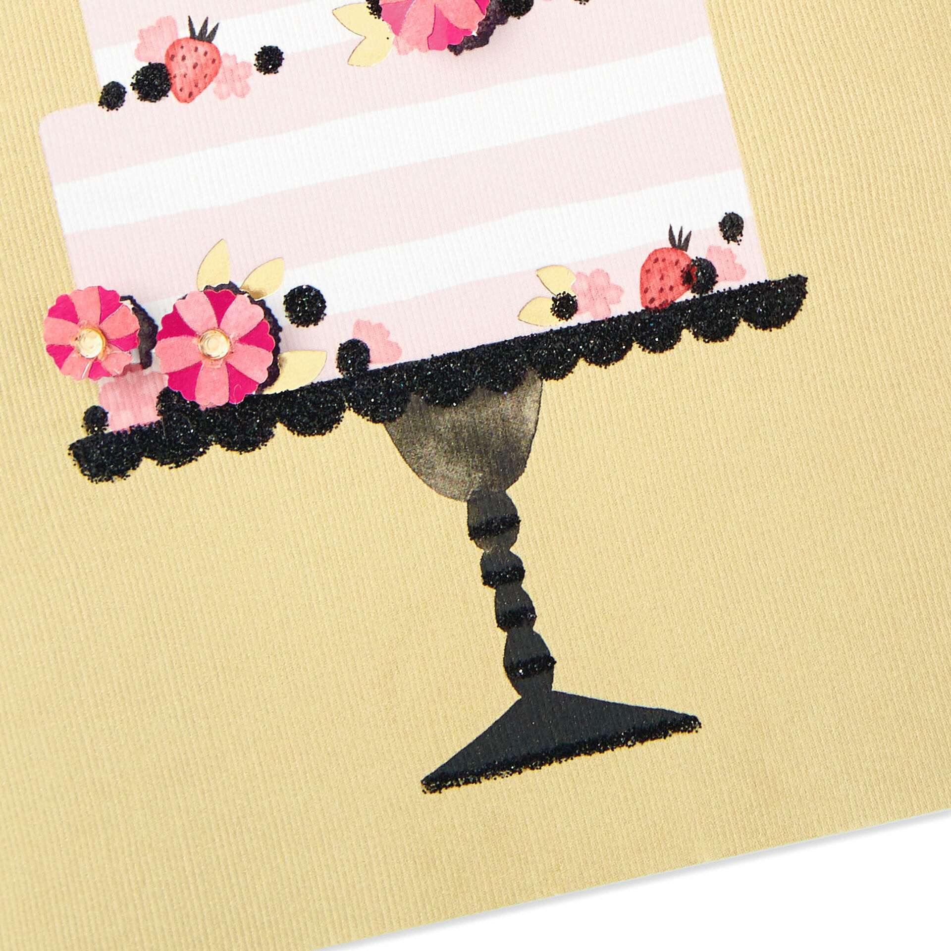 pink and white stripe tiered cake blank card  greeting