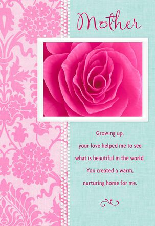 Pink Rose and Border Birthday Card for Mom