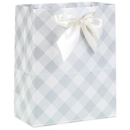 "Gray Checks Large Gift Bag, 13"", , large"