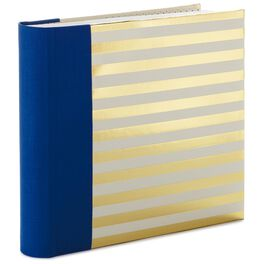 Blue and Gold Stripes Preppy Photo Album, , large