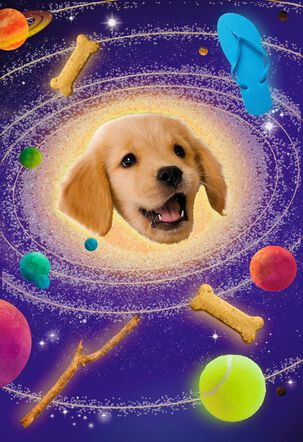 Cosmic Dog Dreams Funny Birthday Card