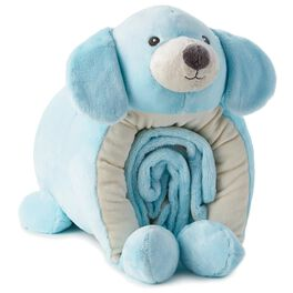 Blue Puppy Pillow and Blanket Set, , large