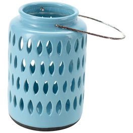 "Medium Turquoise Ceramic Lantern, 9.5"", , large"
