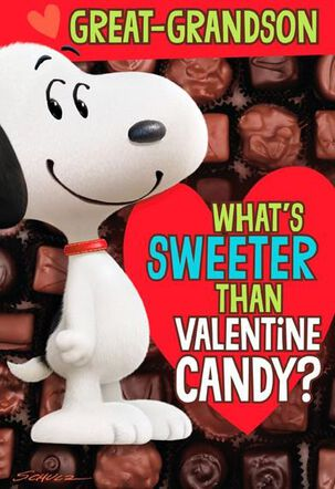 Snoopy Candy Great-Grandson Valentine Card