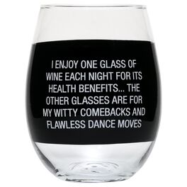 About Face Enjoy Wine for Health Benefits Wine Glass, 6 oz., , large