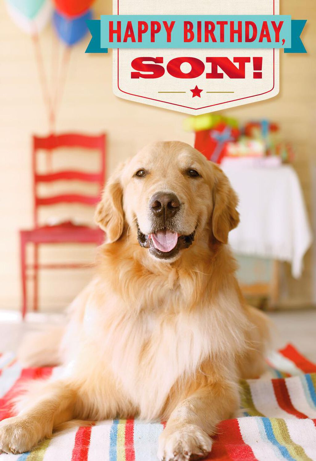 Dog At Party Birthday Card For Son