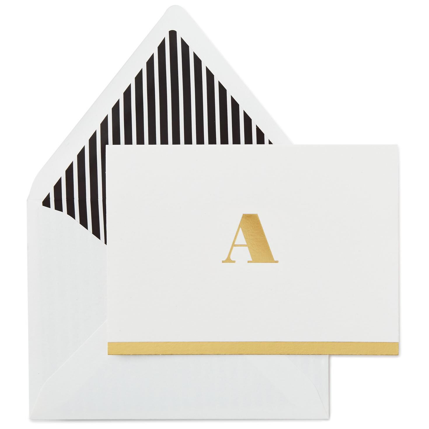 classic style gold initial a blank note cards box of 10 note cards hallmark - Initial Note Cards