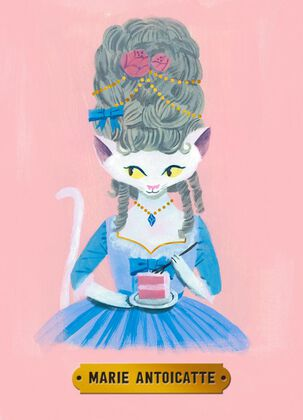 Marie Antoinette Cat Birthday Card
