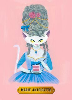 Marie Antoinette Cat Birthday Card,