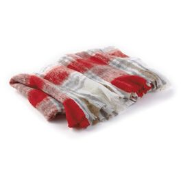Soft Throw Blanket With Holiday Red & Grey Plaid, , large
