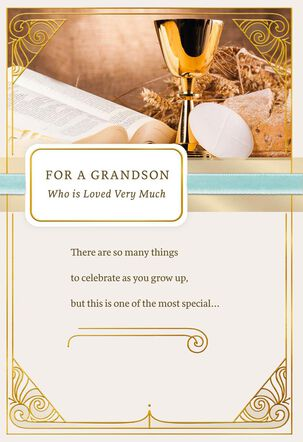 Blessings for You Religious First Communion Card for Grandson
