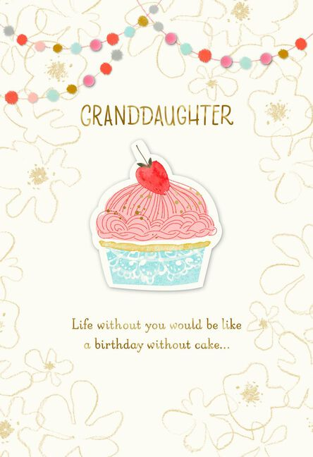 Sweet Cupcake Birthday Card For Granddaughter Greeting Cards