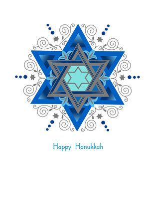 Shades of Blue Star of David Hanukkah Card