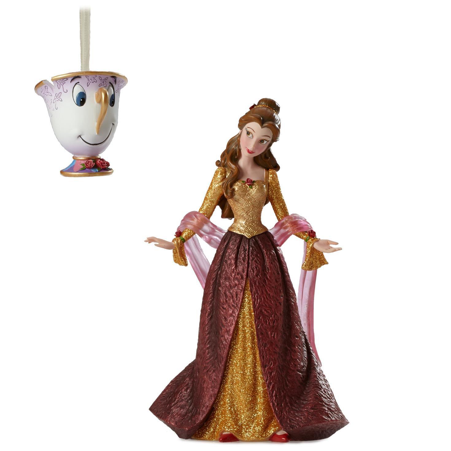 Belle ornament disney - Disney Showcase Christmas Belle Figurine And Chip Ornament Set Figurines Hallmark