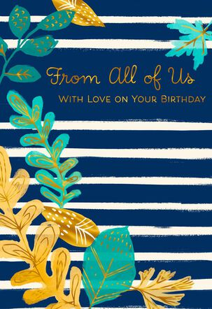 With Love Leaves Birthday Card From Us