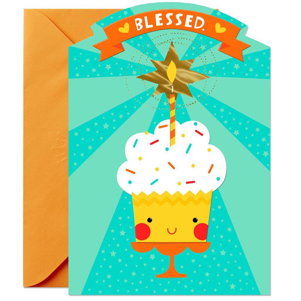 Smiling Cupcake Birthday Card For Godson
