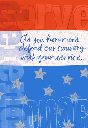 Serve, Honor, Defend Military Thank You Card