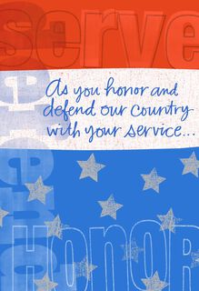 Serve, Honor, Defend Military Thank You Card,