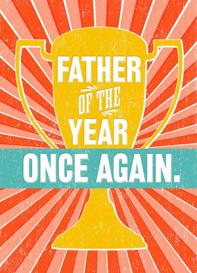 Father of the Year Trophy Father's Day Card - Greeting Cards ...