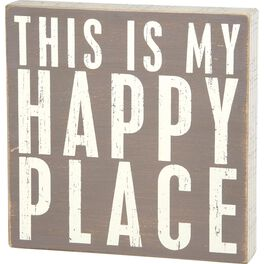 "Primitives by Kathy ""Happy Place"" Wood Box Sign, , large"